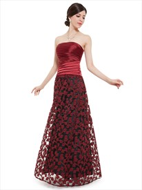 Burgundy Strapless Pleated Bodice Sleeveless Bridesmaid Dress With Lace Overlay