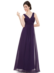Purple Long Chiffon V Neck Sleeveless Bridesmaid Dresses With Pleated Bodice