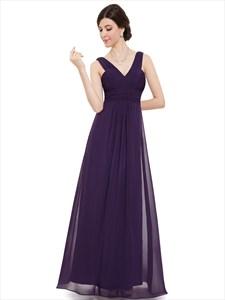 Purple Long Chiffon V Neck Sleeveless Bridesmaid Dresses With Pleated Bodice