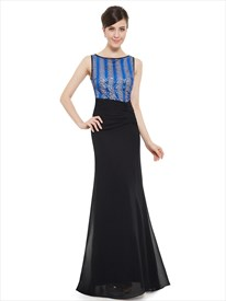 Sequin Bodice Chiffon Pleated Bateau Neck Instantly Slimming Black Prom Dress