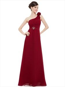 Burgundy Chiffon One Shoulder Asymmetrical Bridesmaid Dresses With Flower Strap