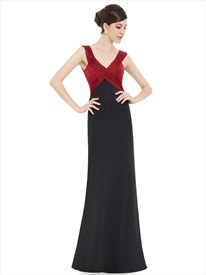 Burgundy And Black Embellished Cross Over Plunging Neckline Wrap Prom Dress