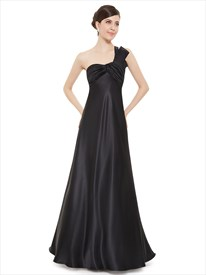 Elegant Long Black Pleated Empire Waist One-Shoulder Bridesmaid Dresses