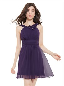 Purple Pleated Chiffon Short Flower Embellished Party Bridesmaid Dress