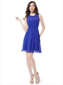 Royal Blue Chiffon Illusion Neck Sheer Sleeveless Short Bridesmaid Dress
