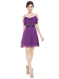 Violet Chiffon A-Line Spaghetti Strap Chiffon Cocktail Dress With Black Belt