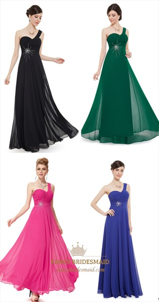 Emerald Green Chiffon One Shoulder Silver Embellishments Bridesmaid Dress
