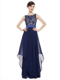 Illusion Sleeveless Lace Bodice Chiffon Navy Blue Bridesmaid Dress With Belt