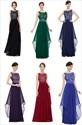 Illusion Sleeveless Lace Bodice Chiffon Navy Blue Bridesmaid Dress With Belt