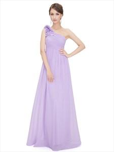 Lilac Chiffon One Shoulder Bridesmaid Dress With Flower Shoulder Strap