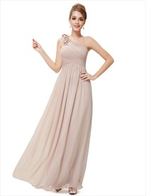 cc86ec30e39 Lilac Chiffon One Shoulder Bridesmaid Dress With Flower Shoulder Strap