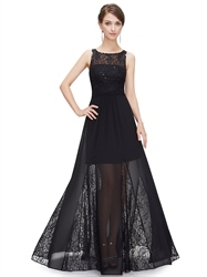 Black Sleeveless Beaded Prom Dress With Lace And Silk Chiffon Overlay