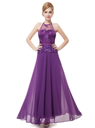 Purple Chiffon Halter Sleeveless Lace Bodice Illusion Neckline Prom Dress With Satin Belt