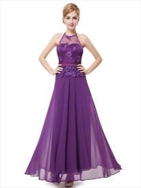 Purple Chiffon Halter Sleeveless Lace Bodice Illusion Neckline Prom Dress With Satin Belt