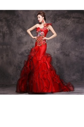 One Shoulder Red Embroidered Mermaid Ball Gown Prom Dress With Ruffle Bottom