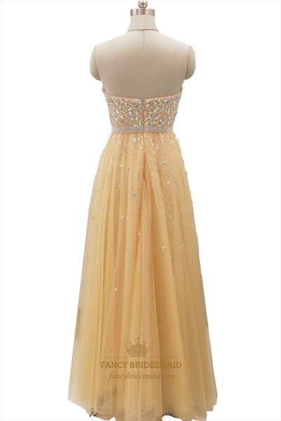 Champagne Beaded Bodice Sweetheart Neckline Strapless Tulle Prom Dress