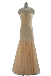 Champagne Fully Sequined Beaded Neckline Mermaid Long Prom Dress