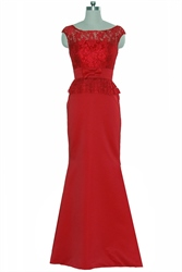 Red Two Tone Cap Sleeve Lace Top Mermaid Long Prom Dress
