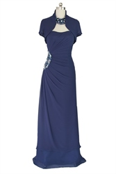 Navy Blue Strapless Beaded Mother Of The Bride Dress With bolero jacket
