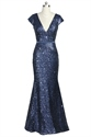 Navy Blue Deep V-Neckline Mermaid Cap Sleeve Sequin Prom Dress