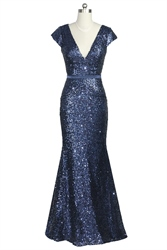 Navy Blue Deep V-Neckline Mermaid Cap Sleeve Sequin Prom Dress