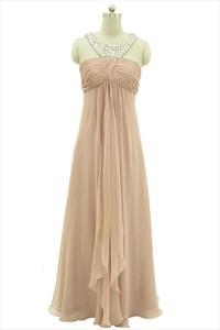 Peach Pleated Empire Chiffon Jewelled Bridesmaid Dress