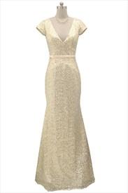 Light Gold Deep V-Neckline Cap Sleeve Mermaid Sequined Prom Dress
