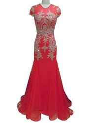 Red Lace Applique Cap Sleeve Mermaid Chiffon Prom Dress