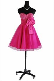 Fuchsia Sweetheart Beaded Bodice Organza Homecoming Dress
