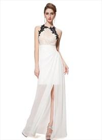 Lace Bodice Cross Back Chiffon Overlay High Split Prom Dress