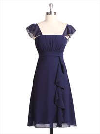 Navy Blue Short Chiffon Pleated Bridesmaid Dress With Flutter Sleeve