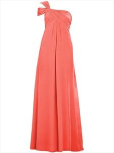 Coral One Shoulder Empire Long Chiffon Bridesmaid Dress