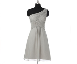 Grey One Shoulder Pleated Short Chiffon Bridesmaid Dress