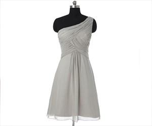 Grey One Shoulder Pleated Short Chiffon Bridesmaid Dress