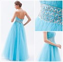 Aqua Blue Beaded Sweetheart Tulle Prom Dress With Rhinestones