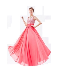 Coral Chiffon V Neck Long Prom Dress With Embellished Bodice
