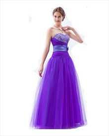 A-line Purple Sweetheart Tulle Prom Dress With Embellished Bodice