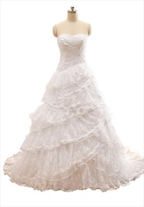 White Layered A-Line Strapless Floor-Length Chapel Lace Wedding Dresses