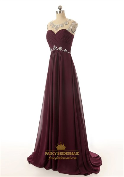 Burgundy Chiffon Empire Illusion Neckline Prom Dress With Rhinestone Top