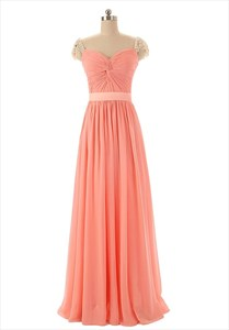 Coral Long Chiffon Cap Sleeves Bridesmaid Dress With Twist Front Detail