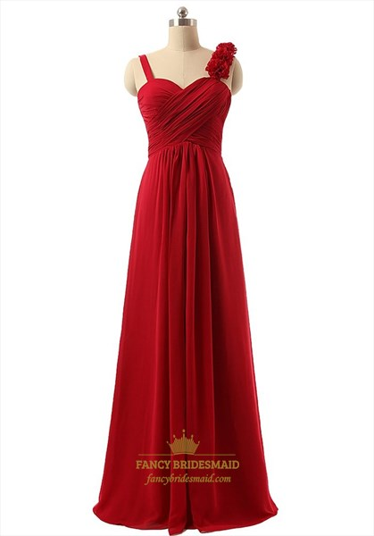 Red Chiffon Empire Pleated Bodice Bridesmaid Dress With Flower Detail