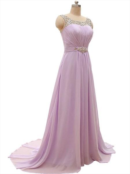 Lilac Chiffon Floor Length Beaded Neckline Prom Dress With Illusion Back