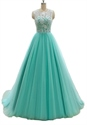 Mint Green A Line Long Illusion Lace Bodice Tulle Skirt Prom Dress