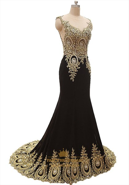 Black Sheer Illusion Neckline Mermaid Prom Dress With Gold Appliques