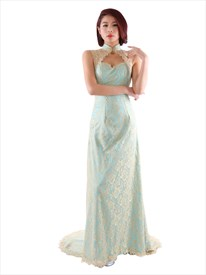 Champagne Long Prom Dress With Illusion Lace And Open Keyhole Back