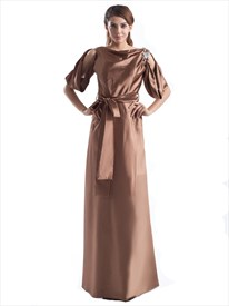Chocolate Brown Half Sleeve A Line Long Semi Formal Dresses With Sash