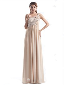 Champagne One Shoulder Chiffon Bridesmaid Dress With Sequins Details