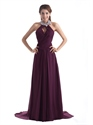 Grape Chiffon Halter Cut Out Back Prom Dresses With Jewelled Neckline