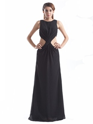 Long Black Chiffon High Neck Floor Length Prom Dress With Cut Out Waist