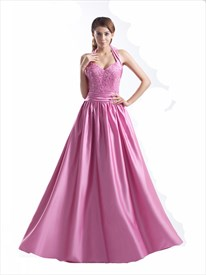 Pink Beaded Bodice Sweetheart Embellished Satin Halter Neck Prom Dress